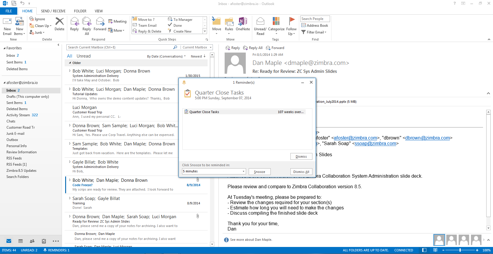 Zimbra Mobile Plus - How to configure Microsoft Outlook 2013 with