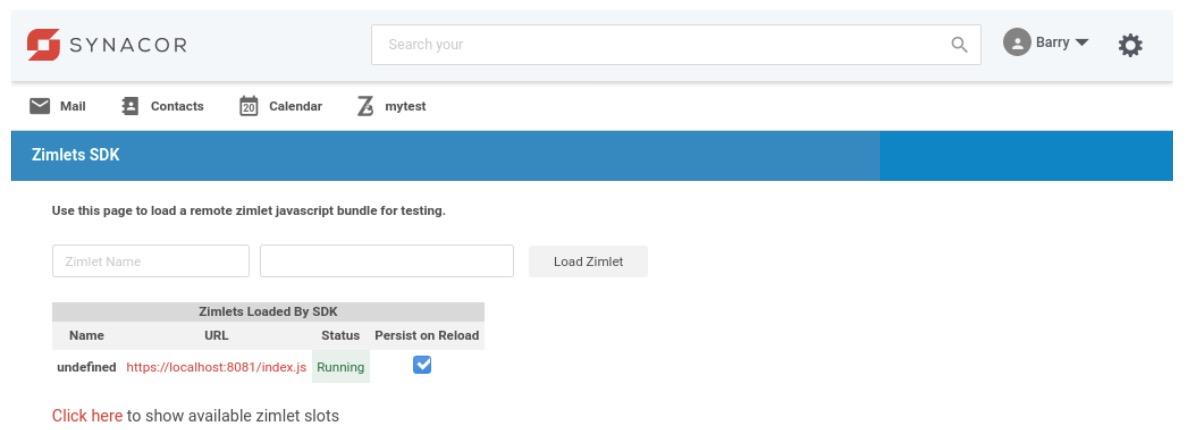 Sideload the Zimbra Attacher Zimlet by clicking Load Zimlet