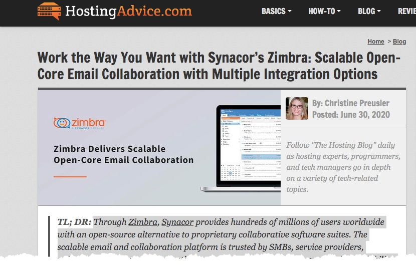 Zimbra on hostingadvice.com: Work the Way You Want with Synacor's Zimbra: Scalable Open-Core Email Collaboration with Multiple Integration Options