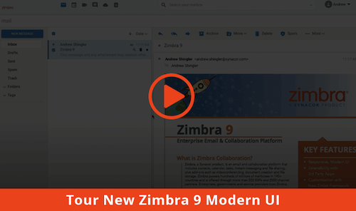 Video tour of Zimbra 9's Modern UI Updated Navigation