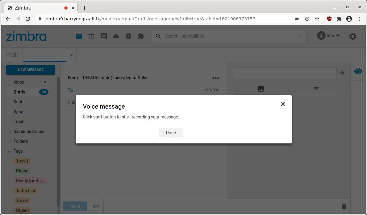 Zimbra's Voice Message Zimlet: Click Done